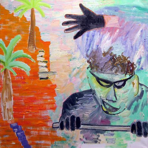 'Landskab med palmer og tyv', 120 x 120 cm, olie på lærred, 2015
