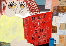 'Læsning i tekøkkenet', 2010, 67 x 95 cm, akryl, olie på lærred