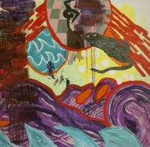 'Ikke mere pynt om din skæbne', 2013, 74 x 74 cm, akryl, olie på lærred