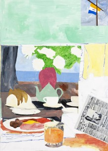 'The same break - Gluckman and friends at the restaurant', 2012, 119 x 85 cm, akryl, olie på lærred