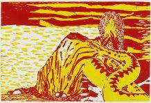 'Genlyd fra 70erne, udsigt over Limfjorden og Cheminova', 36,4 x 54,5 cm, 2015, træsnit