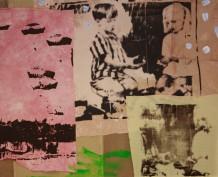 """Maidan Maidan"", 122 x 150 cm, serigrafi maleri, tekstilfarve, batikfarve, akryl, tråd, lærred, tekstil"